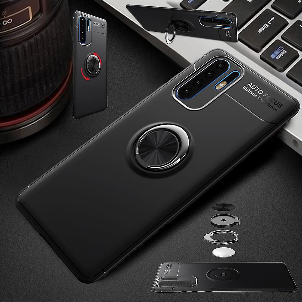 For Huawei P30 Pro magnet metall ring ultra tynn veske svart
