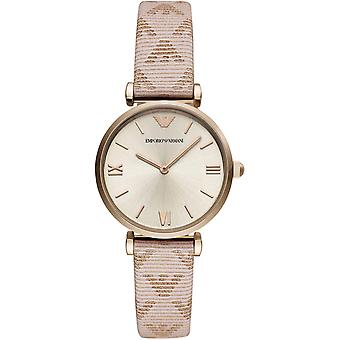 Emporio Armani Ar11126 Pink Leather Stainless Steel Ladies Watch
