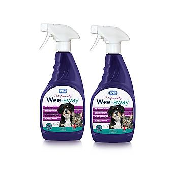 RSPCA Wee Away probiotiske 2 x 500ml Pet Friendly Stain & Lugt Remover