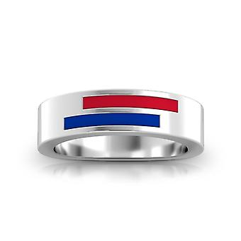 Southern Methodist University Sterling Silver Asymmetric Enamel Ring In Red and Blue