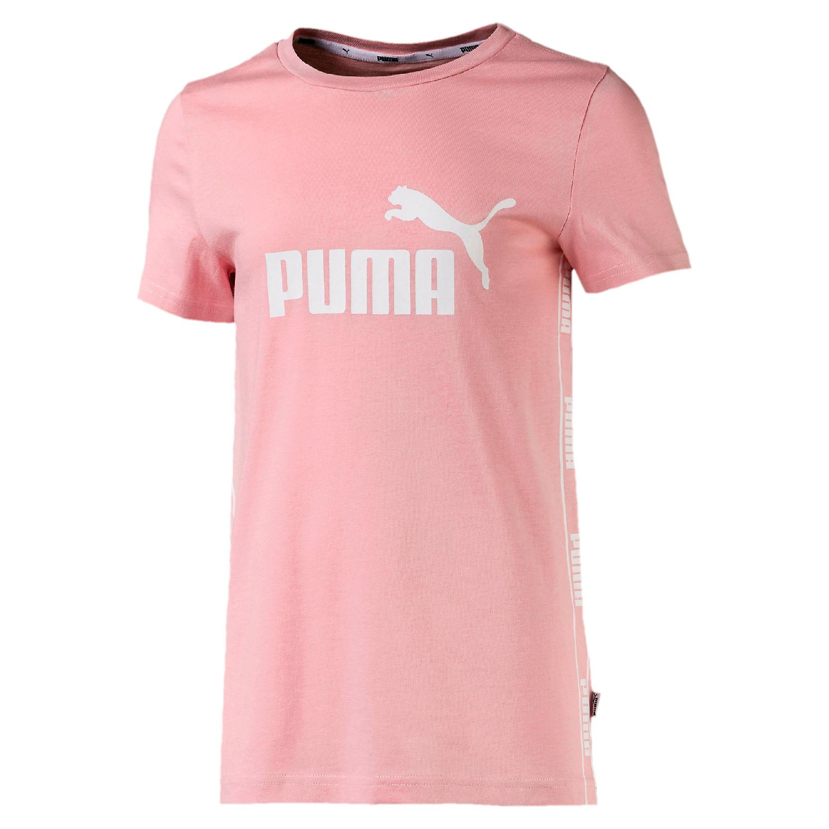 Puma Amplified Kids Girls Taped Sports T-Shirt Tee Pink/White