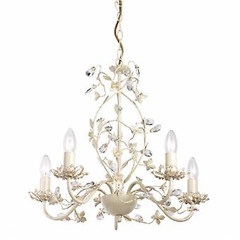 5 Light Multi Arm Ceiling Pendant Clear, Cream With Brushed Gold, Pearl Effect Acrylic