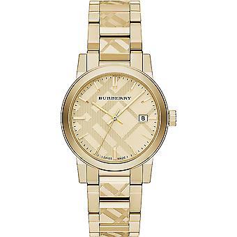 バーバリー Bu9038 ユニセックス スイス ゴールド イオンメッキステンレススチール腕時計