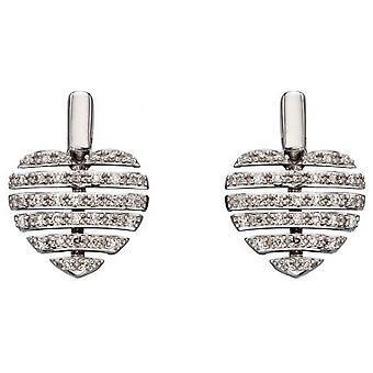 Elements Gold Split Heart Earrings - Silver
