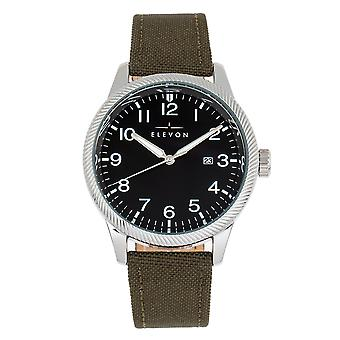 Elevon Bandit Leather-Band Watch w/Date - Olive/Black