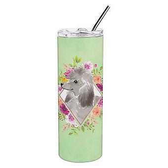Grey Standard Poodle Green Flowers Double Walled Stainless Steel 20 oz Skinny Tu