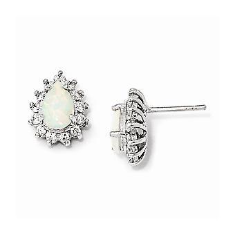 925 Sterling Argent Rhodium plaqué Cubic Zirconia Synthétique Simulated Opal Post Boucles d'oreilles Bijoux Bijoux pour les femmes