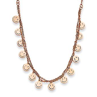Stainless Steel Rose Gold-Flashed Polished IP rose-plated Fancy Lobster Closure Happy Faces 19inch With Ext Necklace - 1