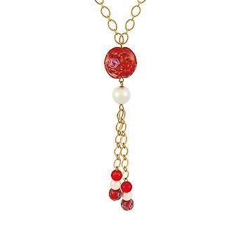 Ewige Sammlung Chiara rot Murano Glas lange Gold Ton Statement Halskette