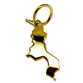 Hänge karta kedja hänge i guldgult-guld i form av MALAWI