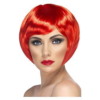 Babe peruukki, punainen, lyhyt Bob Fringe naamiaispuku lisävaruste