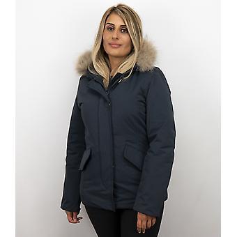 Fur coats - Winter coat Wooly Short - Large Fur Collar - Blue
