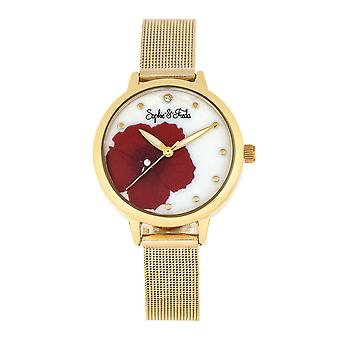 Sophie et Freda Raleigh Mother-Of-Pearl Bracelet Watch w/Swarovski Crystals - Rouge