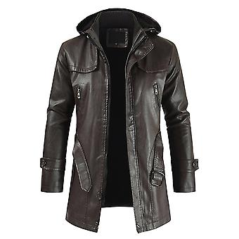 Allthemen Men's Thick Warm Mid-Long Zipper Hooded Leather Coat