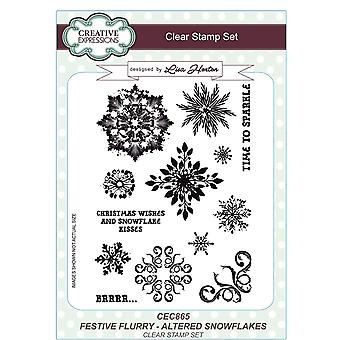 Creative Expressions Lisa Horton Festive Flurry A5 Clear Stamps - CEC859 Celebrations