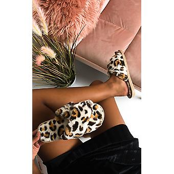 IKRUSH Womens Leo Printed Faux Fur Slippers
