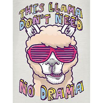 Grindstore naisten/naisten tämä laama dont Need No Drama roll hiha Vintage T-paita