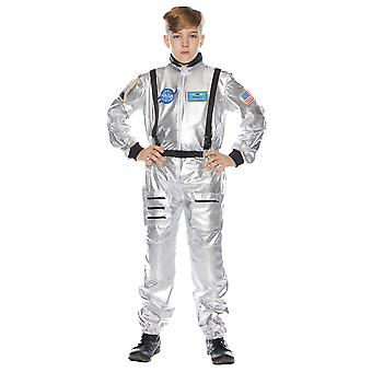Astronaut Spaceman NASA Silver Space Suit Book Week Child Boys Costume