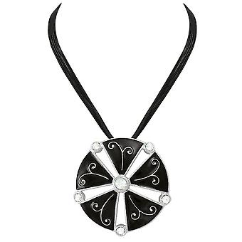 Eternal Collection Excelsia Black Enamel And Crystal Silver Tone Cord Pendant