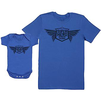 Super Hero Training Academy - Baby Gift Set with Baby Bodysuit & Father's T-Shirt