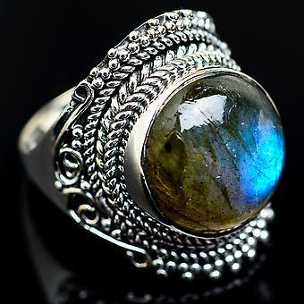 Large Labradorite ring storlek 8,5 (925 sterling silver)-handgjorda Boho Vintage smycken RING984081