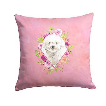 Bichon Frise rosa Blumen Stoff dekorative Kissen