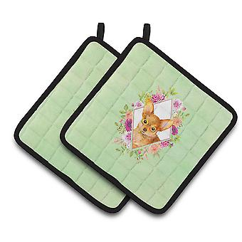 Carolines Treasures  CK4350PTHD Toy Terrier Green Flowers Pair of Pot Holders