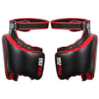 Title Boxing Gel Thai Style Hook and Loop Closure Thigh Pads - Black/Red