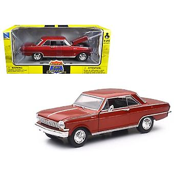 1964 Chevrolet Nova SS Burgundy Muscle Car Collection 1/25 Diecast Model Car by New Ray