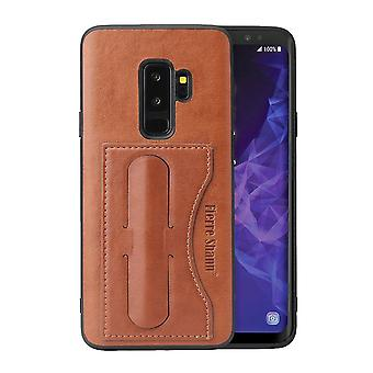 For Samsung Galaxy S9 Case Fierre Shann Luxury Durable Protective Cover,Brown