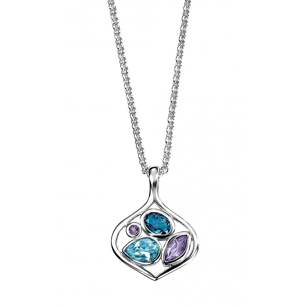 Joshua James Radiance Silver With Amethyst & Blue Topaz Open Drop Pendant