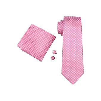 JSS Mens Pink Check 100% Silk Pocket Square, Cufflink And Tie Set