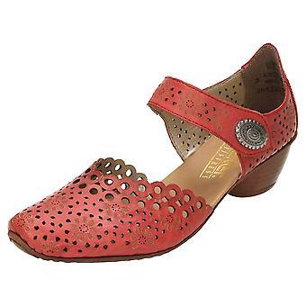 Rieker Leather Block Heel Shoes 43753-33 Vermelho