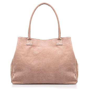 FIRENZE ARTEGIANI Real Leather Women's Bag. Women's bag leather genuine suede. Soft touch. Shopper bag. Women's shoulder bag Made in ITALY. REAL ITALIAN PELLE 33x25x9 cm. Color: NUDE