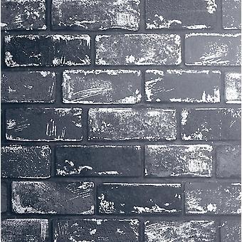 Efecto 3D Metalizado Ladrillo Papel pintado Negro Plata Gris Piedra Industrial Arthouse