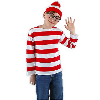 Wally Red White Striped Shirt Storybook Book Week Kids Boys Costume