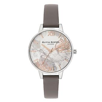 Olivia Burton Watches Ob16vm32 Abstract Floral London Grey & Silver Leather Watch