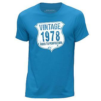 STUFF4 Men's Round Neck T-Shirt/ Vintage Born In 1978/Blue