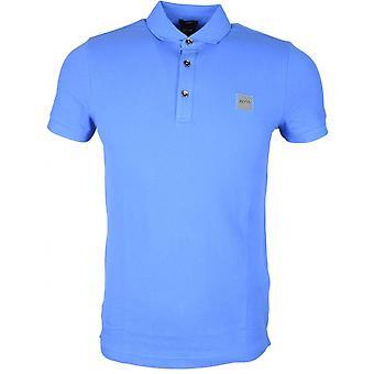 هوغو بوس الركاب قصيرة الأكمام القطن الأزرق بولو قميص