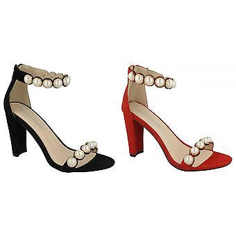 Anne Michelle Womens/Ladies Pearl Trim Mule Sandals