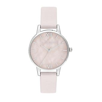 Olivia Burton Watches Ob16sp19 Semi Precious Mid Rose Quartz Blossom and Silver Leather Ladies Watch