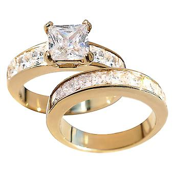 Ah! Jewellery Women's Gold Over Stainless Steel Princess Cut Ring And Band Set.