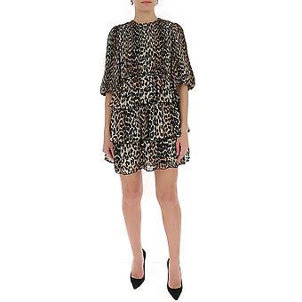 Ganni F4455943 Women's Leopard Cotton Dress
