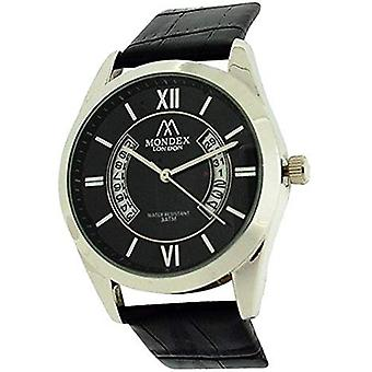 Mondex London Unisex Date Black Dial & Black PU Strap Casual Watch MLB464/03
