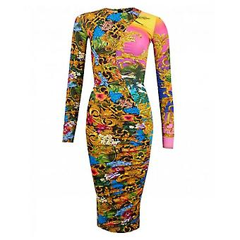 Versace Jeans Couture Jungle Baroque Long Sleeved Dress