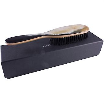 Abbeyhorn Hair Brush Beech Wood Genuine Horn Handle Dark Natural Bristle