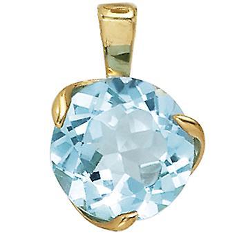 Women's pendant 585 gold yellow gold 1 blue topaz light blue gold pendant topaz pendant