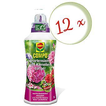 Sparset: 12 x COMPO hydrangea ja camellia lannoite, 1 litra