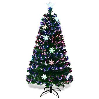5FT/150CM Fiber Optic Christmas Tree Artificial Xmas Tree W/Top Star&Snowflake