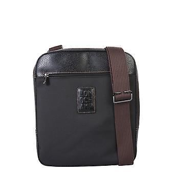 Longchamp 1714080001 Men's Black Leather Messenger Bag
